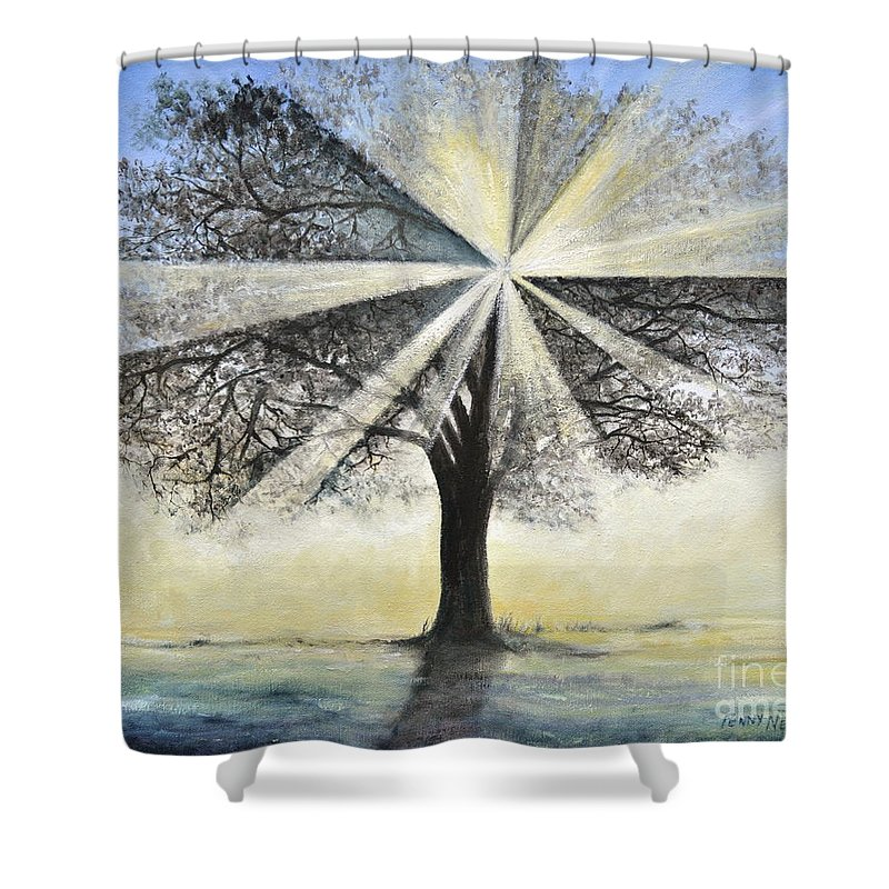 Tree Painting Shower Curtain featuring the painting original Tree Light by Penny Neimiller