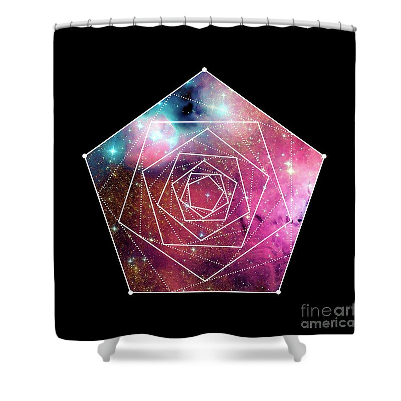 Geometry Shower Curtain Featuring The Digital Art Orion Night Sky Geometric Shapes