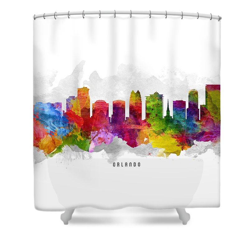 Orlando Shower Curtain featuring the painting Orlando Florida Cityscape 13 by Aged Pixel