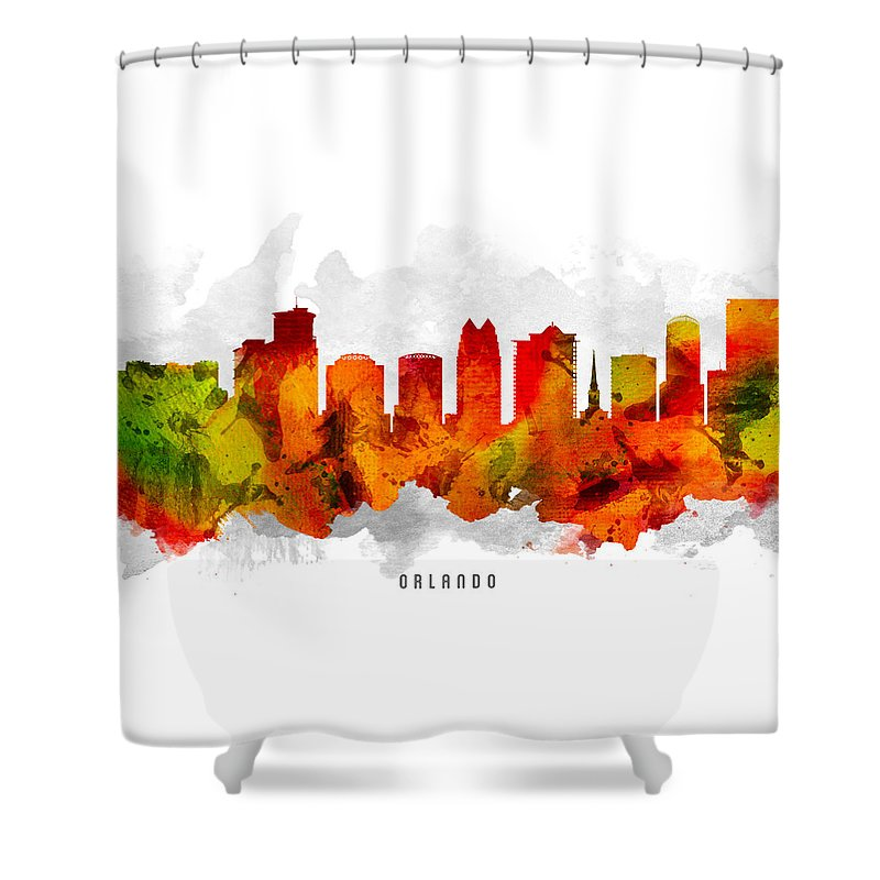 Orlando Shower Curtain featuring the painting Orlando Florida Cityscape 15 by Aged Pixel