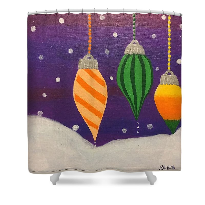 Christmas Shower Curtain featuring the painting Ornaments by Rita Parrish