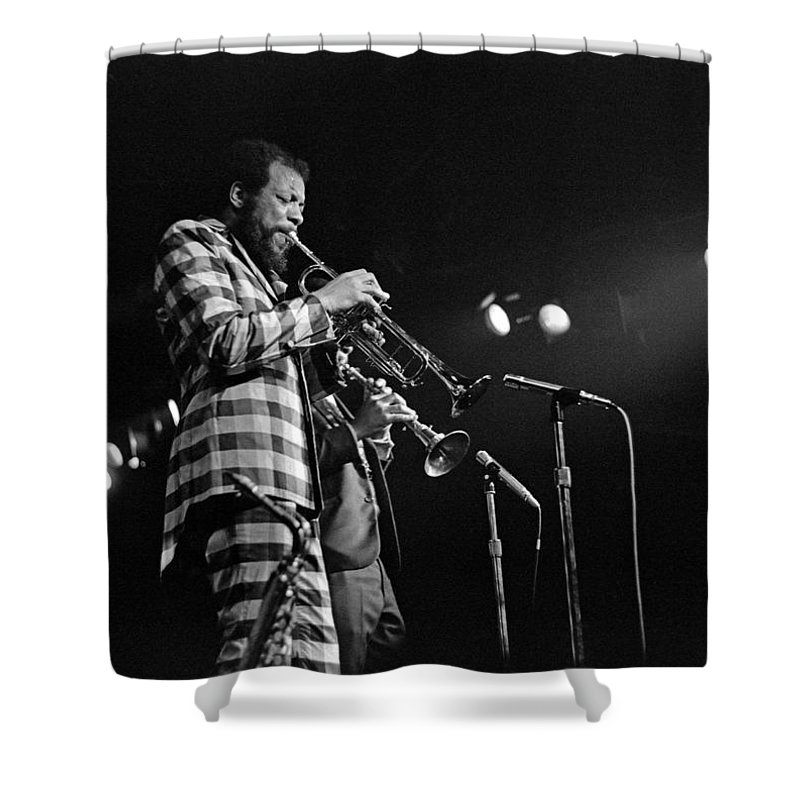 Ornette Colman Shower Curtain featuring the photograph Ornette Coleman On Trumpet by Lee Santa