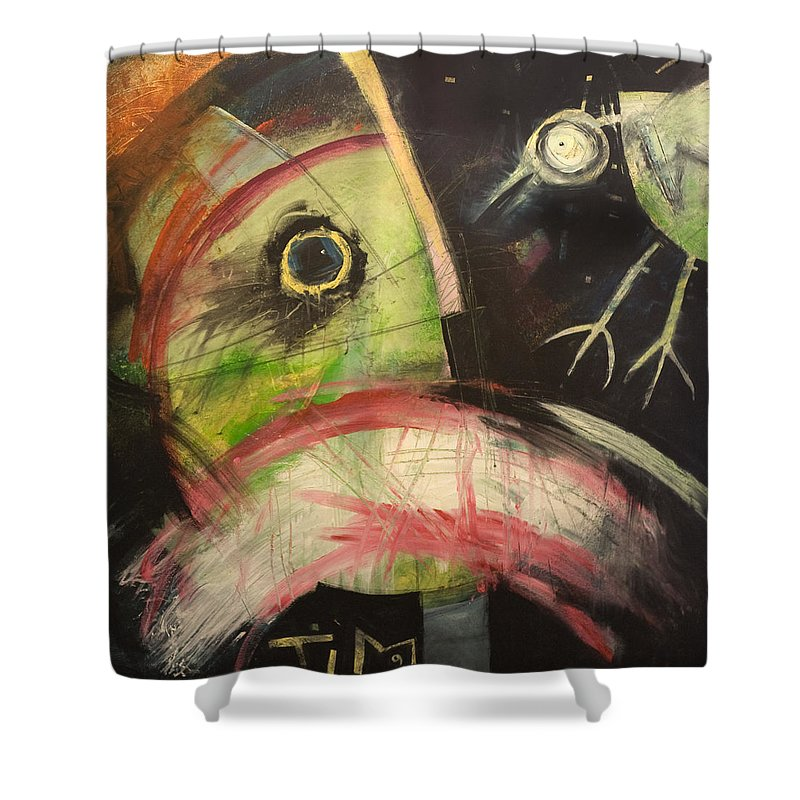 Bird Shower Curtain featuring the painting Ornithophobia by Tim Nyberg