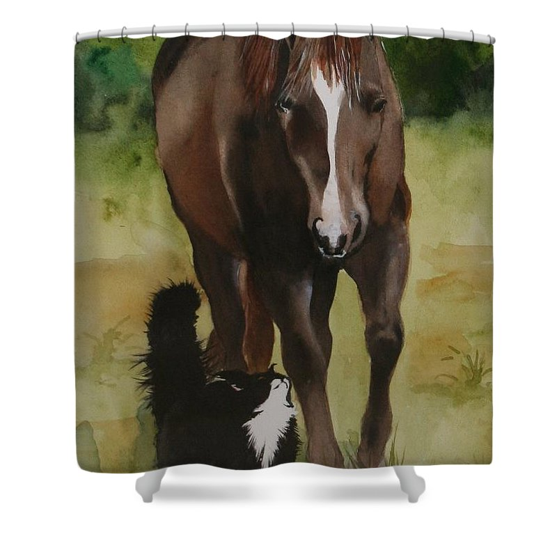 Horse Shower Curtain featuring the painting Oscar And Friend by Jean Blackmer