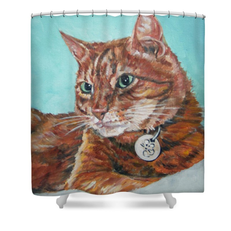 Cat Shower Curtain featuring the painting Oscar by Bryan Bustard