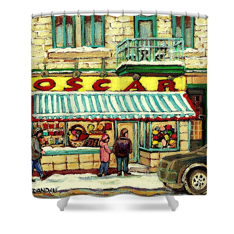 Oscar's Candy Store Montreal Shower Curtain featuring the painting Oscar 's Candy Store Montreal by Carole Spandau