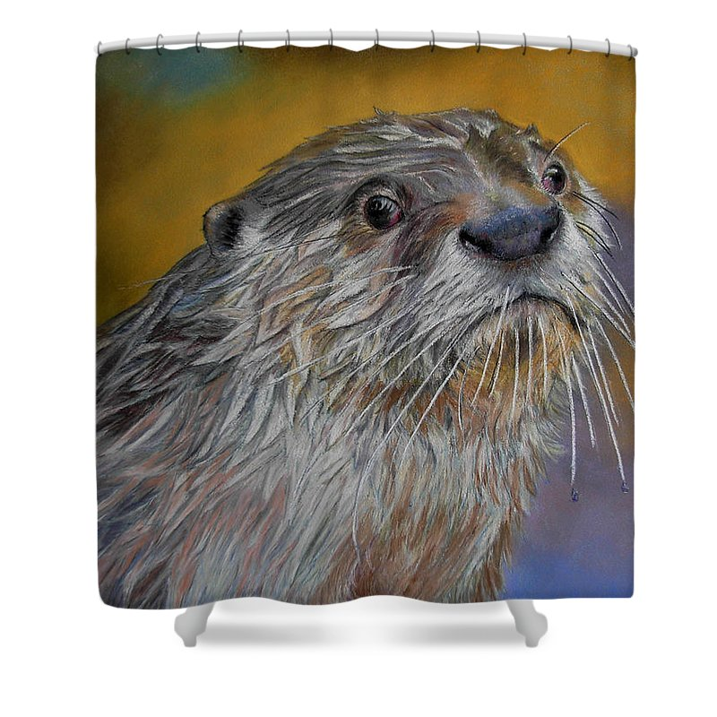 River Otter Shower Curtain featuring the painting Otter Or Not by Ceci Watson
