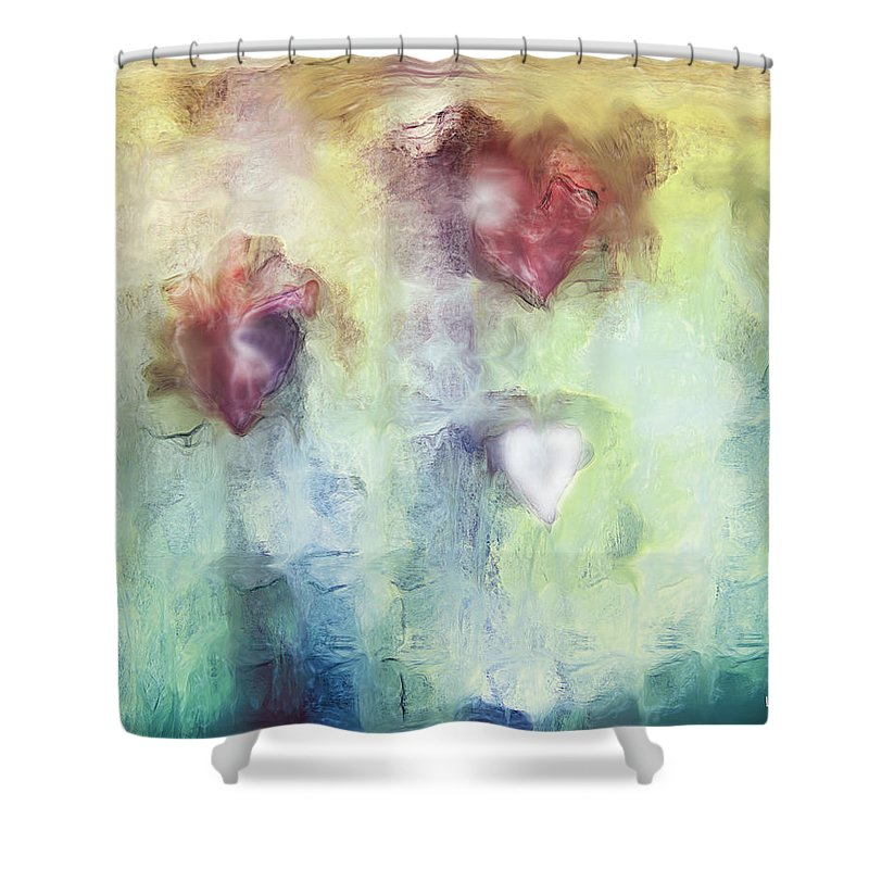 Our Hearts Shower Curtain featuring the digital art Our Hearts by Linda Sannuti