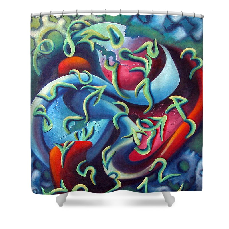 Clocks Shower Curtain featuring the painting Our Inner Clocks by Elizabeth Lisy Figueroa