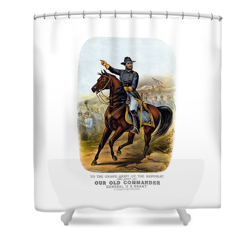 Civil War Shower Curtain featuring the painting Our Old Commander - General Grant by War Is Hell Store