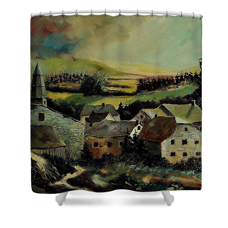 Village Shower Curtain featuring the painting Our Opont Belgium by Pol Ledent