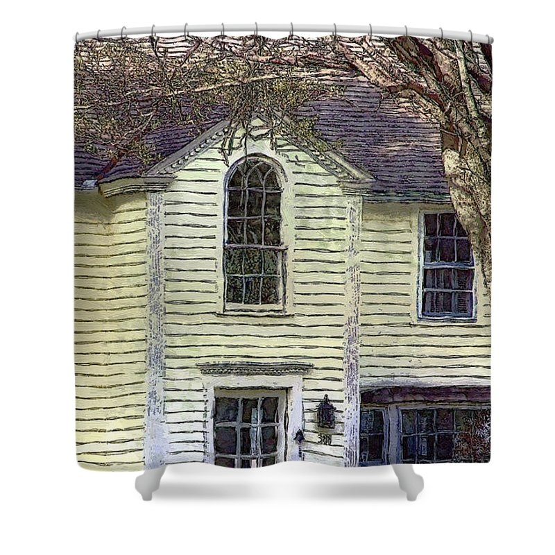 House Shower Curtain featuring the painting Our Town's Witch House by RC DeWinter