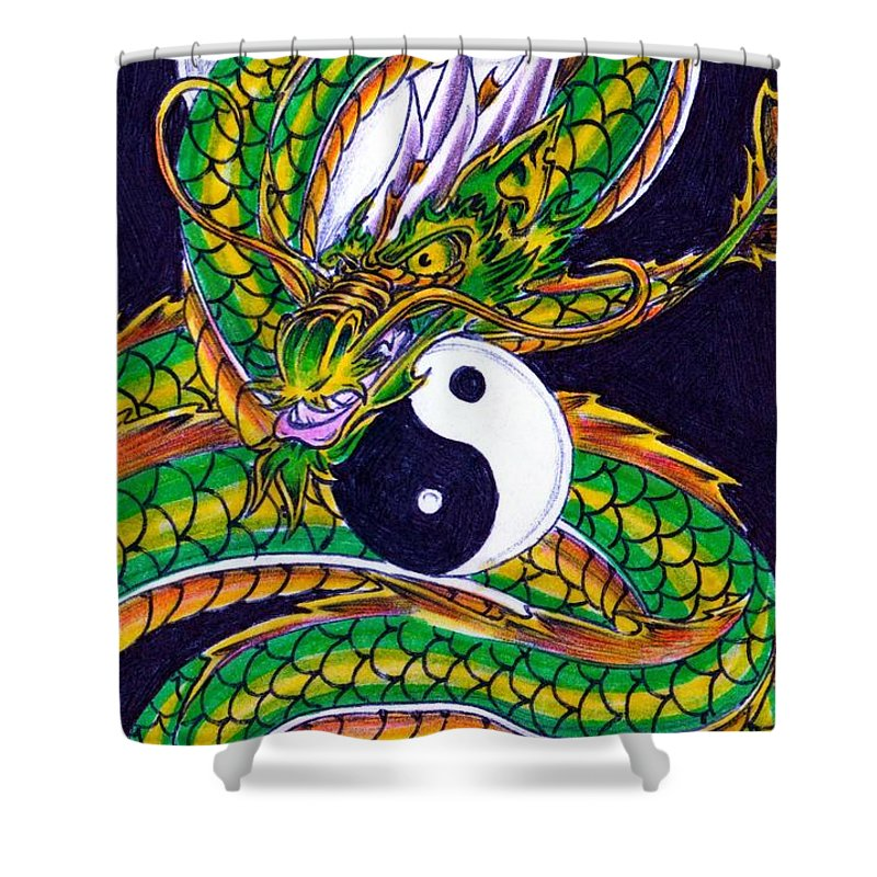 Ouroboros Unleashed Shower Curtain featuring the drawing Ouroboros Unleashed by William P