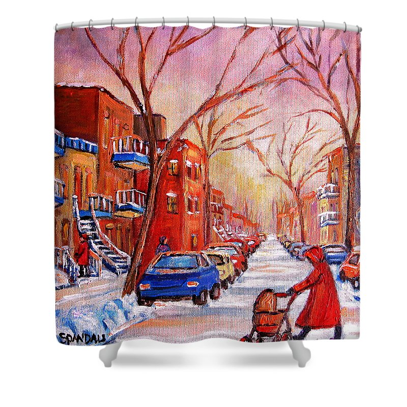 Montreal Shower Curtain featuring the painting Out For A Walk With Mom by Carole Spandau