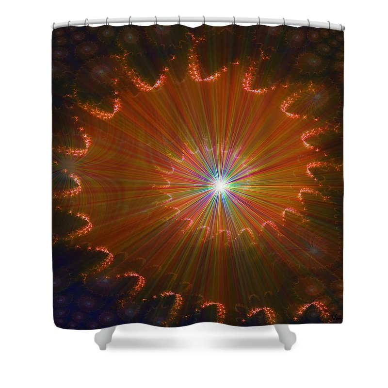 Super Nova Stars Another World Universe Abstract Spectrum Colorful Shower Curtain featuring the digital art Out Of Control by Andrea Lawrence