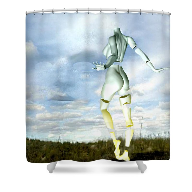 Sky Naked Woman Surreal Dance Shower Curtain featuring the digital art Out Of My Mind... by Veronica Jackson