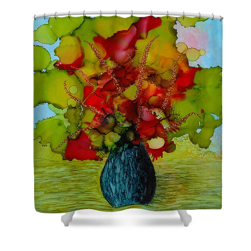 Flowers Shower Curtain featuring the painting Out Of The Blue by Laurie Williams
