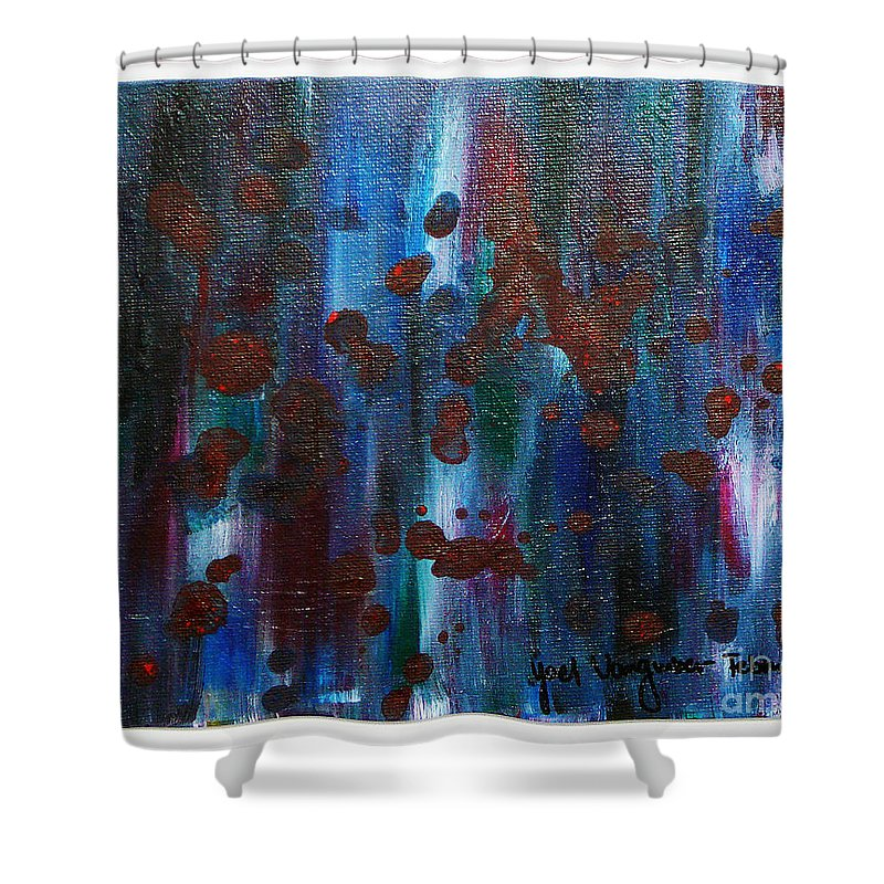 Acrylic Painting Shower Curtain featuring the painting Out Of The Blue by Yael VanGruber
