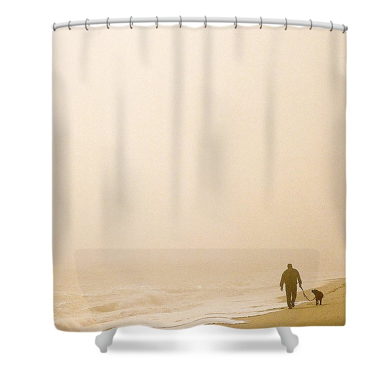 Landscape Shower Curtain featuring the photograph Out Of The Mist by Steve Karol