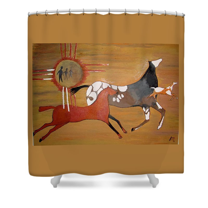 Horses - Stick Figures Shower Curtain featuring the painting Out Of The Past by Stephanie Moore
