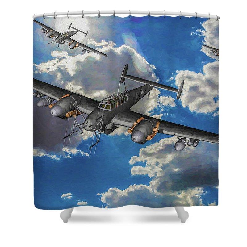 Messerschmitt Bf 110g Shower Curtain featuring the digital art Out Of The Sun - Messerschmitt Bf 110g - Oil by Tommy Anderson