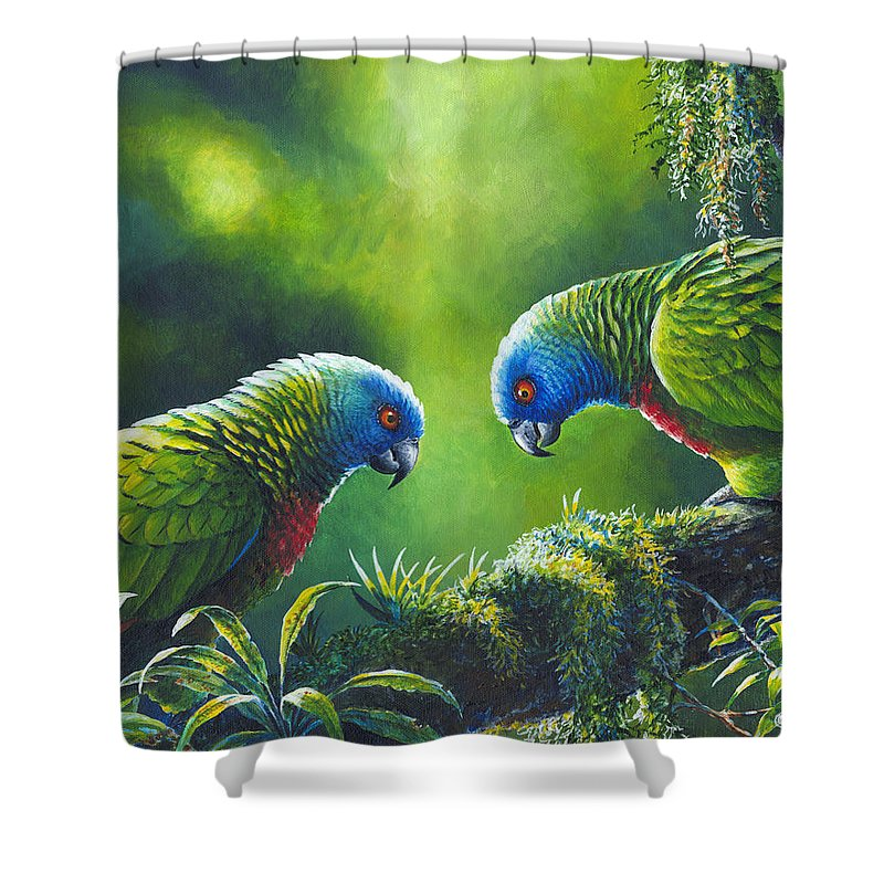 Chris Cox Shower Curtain featuring the painting Out On A Limb - St. Lucia Parrots by Christopher Cox