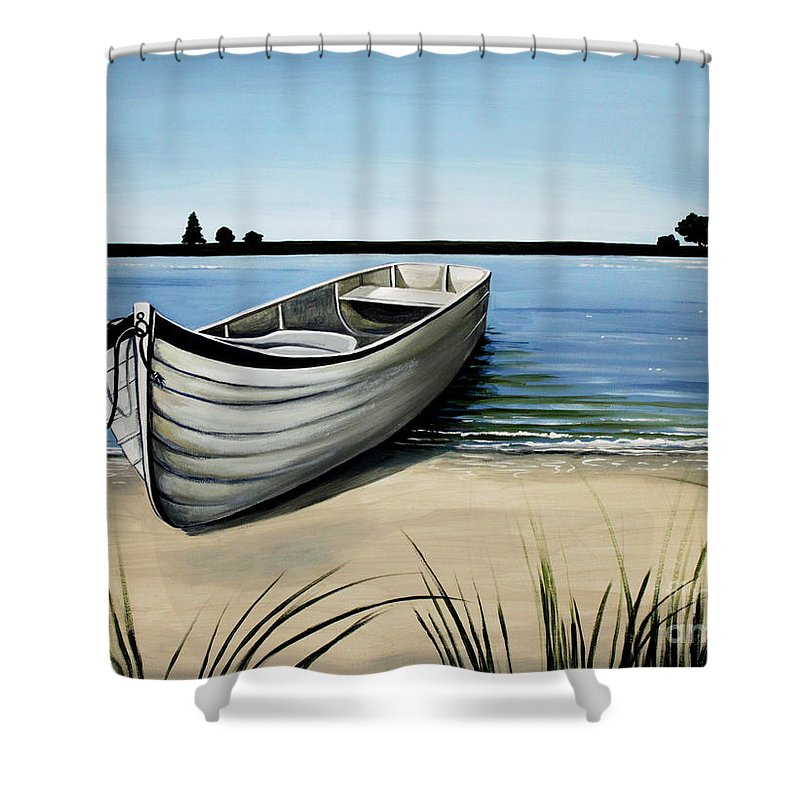 Boat Shower Curtain featuring the painting Out On The Water by Elizabeth Robinette Tyndall