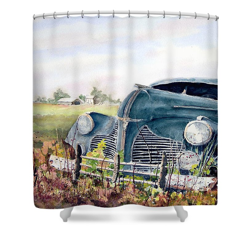 Classic Car Shower Curtain featuring the painting Out To Pasture by Sam Sidders