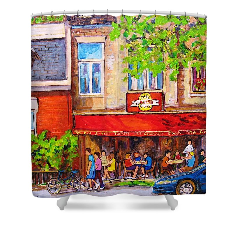 Montreal Shower Curtain featuring the painting Outdoor Cafe by Carole Spandau