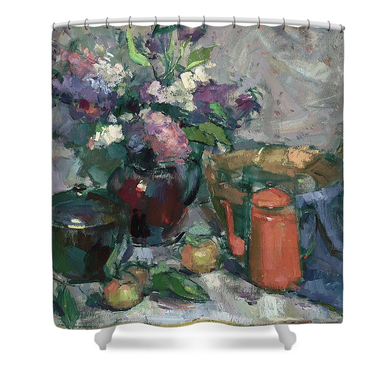 Mike Kirschel Shower Curtain featuring the painting Outdoor Lilacs by Mike Kirschel