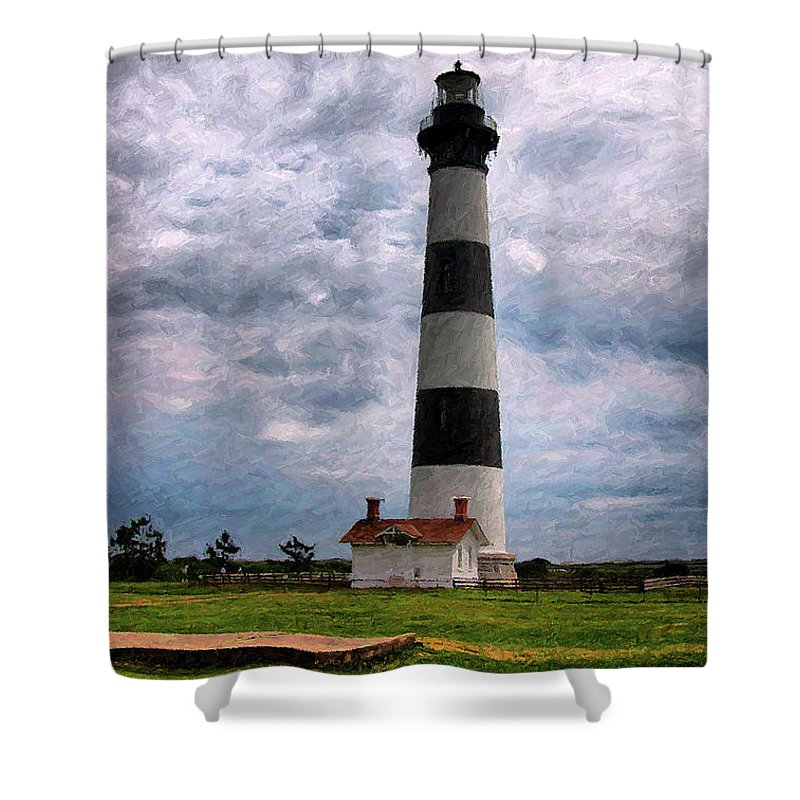 Lighthouse Shower Curtain featuring the photograph Outer Banks Beach Lighhouse by Randy Steele