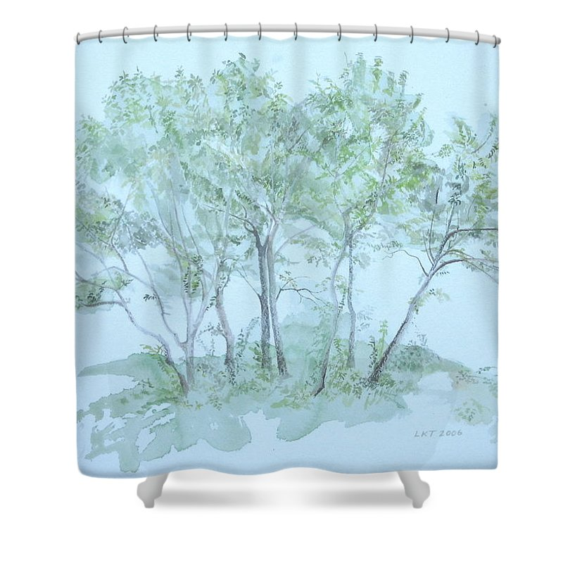 Trees Shower Curtain featuring the painting Outer Banks by Leah Tomaino