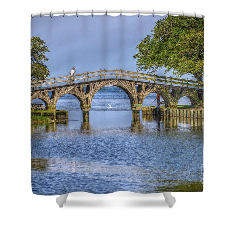 Summer Shower Curtain featuring the photograph Outer Banks Whalehead Club Bridge by Randy Steele