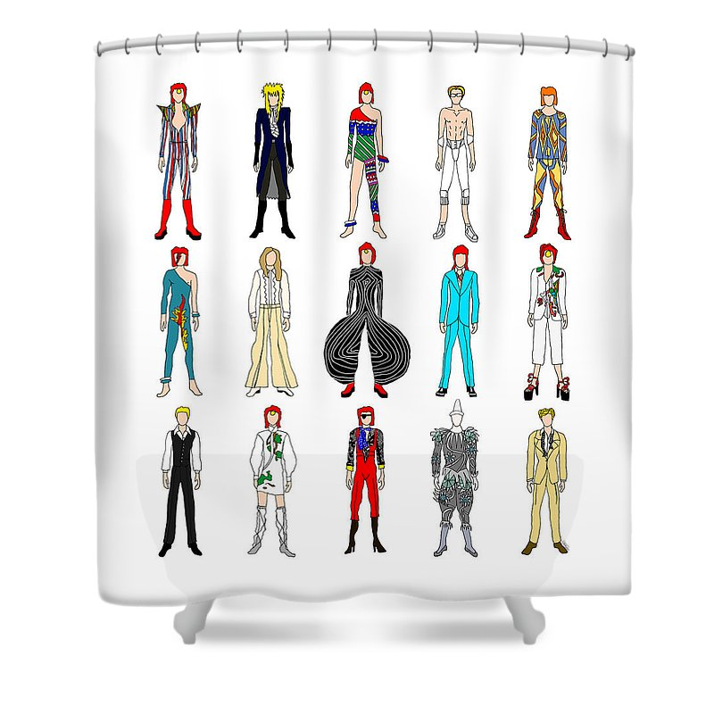 Bowie Shower Curtain featuring the digital art Outfits Of Bowie by Notsniw Art
