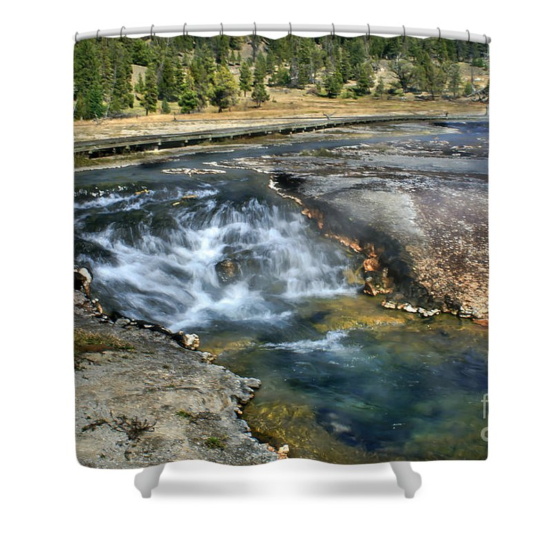 Water Falls Shower Curtain featuring the photograph Outlet Firehole Lake by Robert Bales
