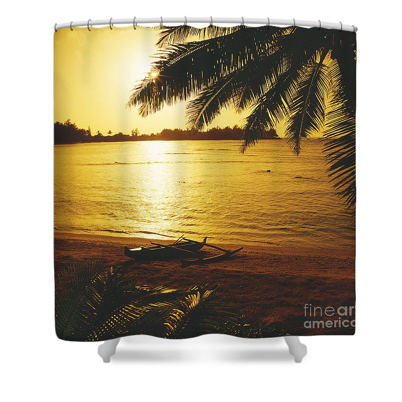 Ashore Shower Curtain featuring the photograph Outrigger At Sunset by Dana Edmunds - Printscapes