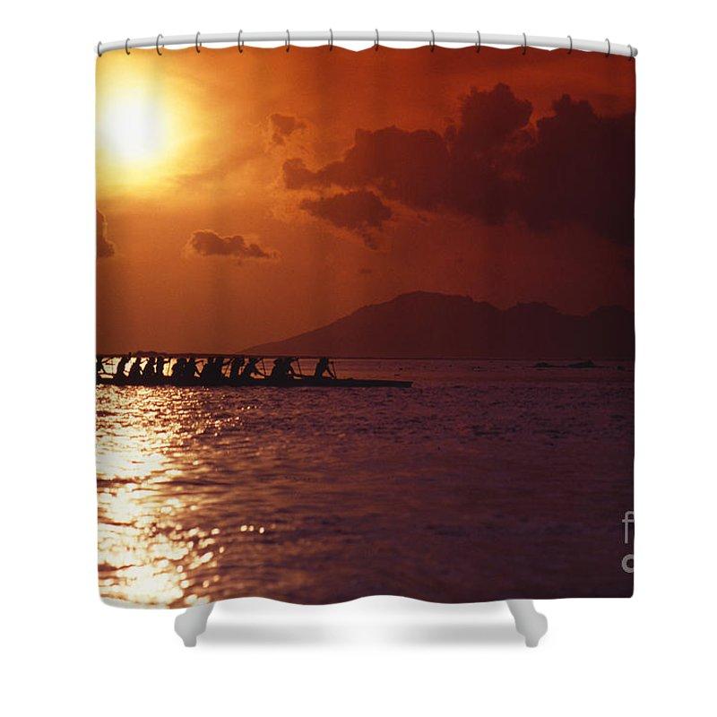 Bora Bora Shower Curtain featuring the photograph Outrigger Canoe At Sunset by Joe Carini - Printscapes