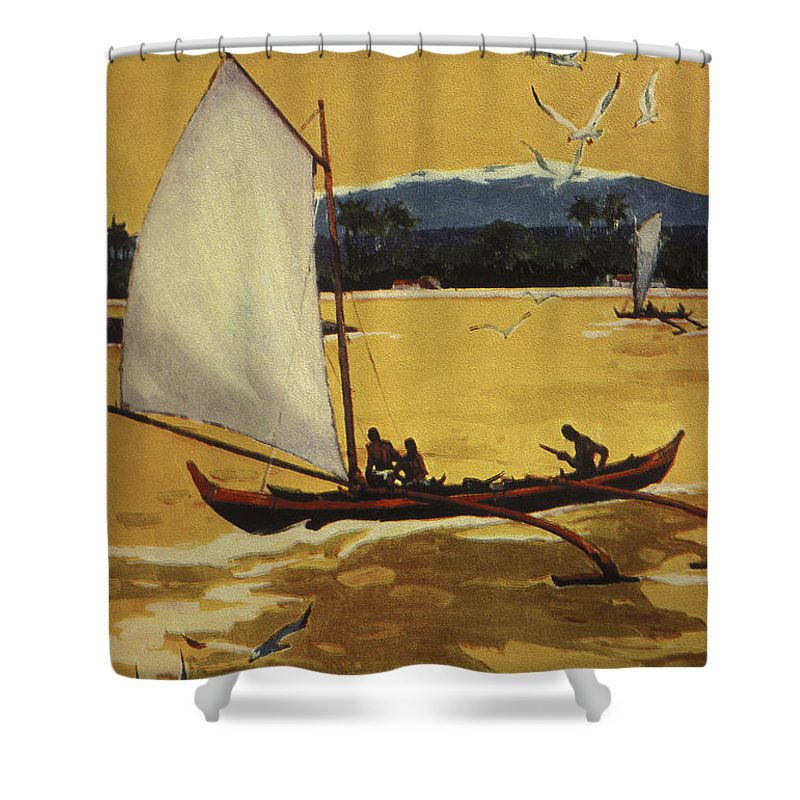 1922 Shower Curtain featuring the painting Outrigger Off Shore by Hawaiian Legacy Archive - Printscapes