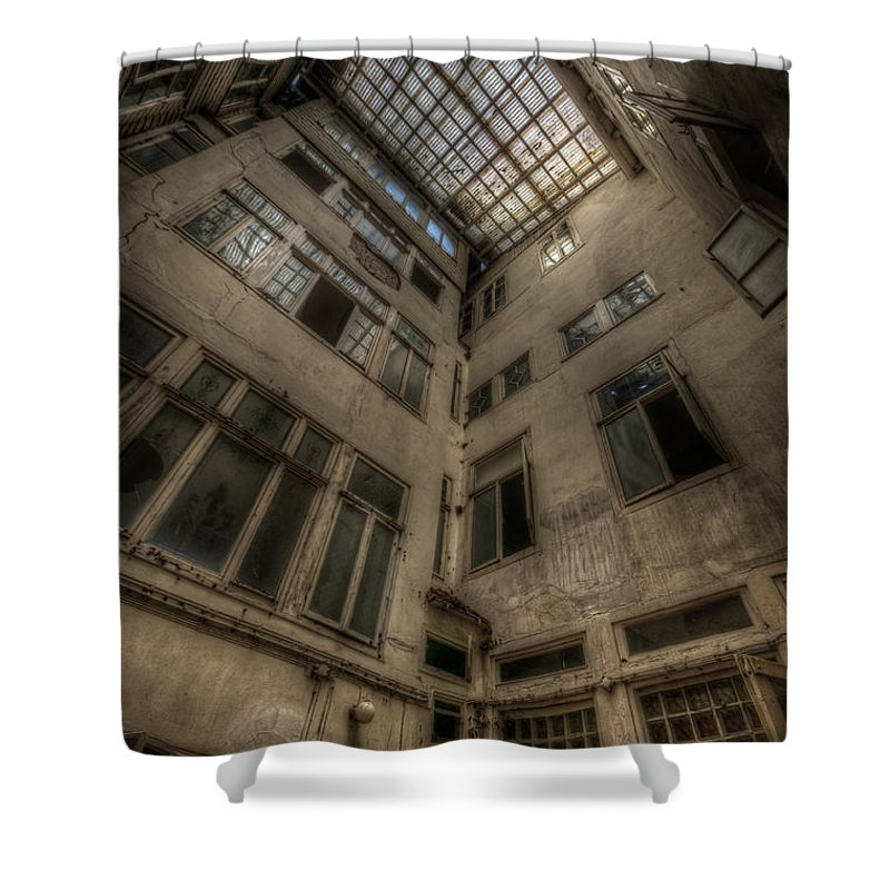 Urbex Shower Curtain featuring the digital art Outside In by Nathan Wright