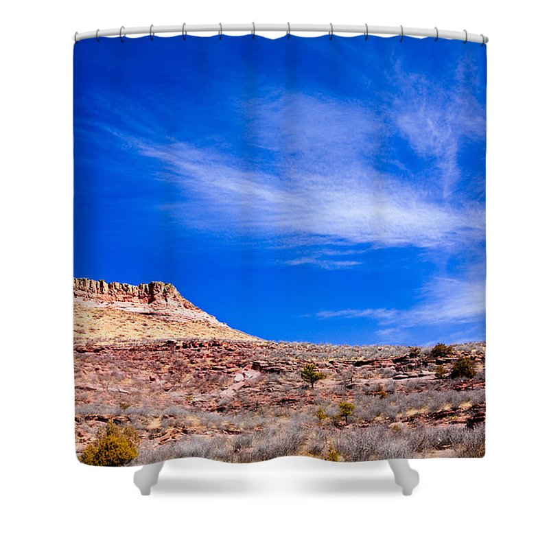 Red Shower Curtain featuring the photograph Outside Lyons Colorado by Marilyn Hunt