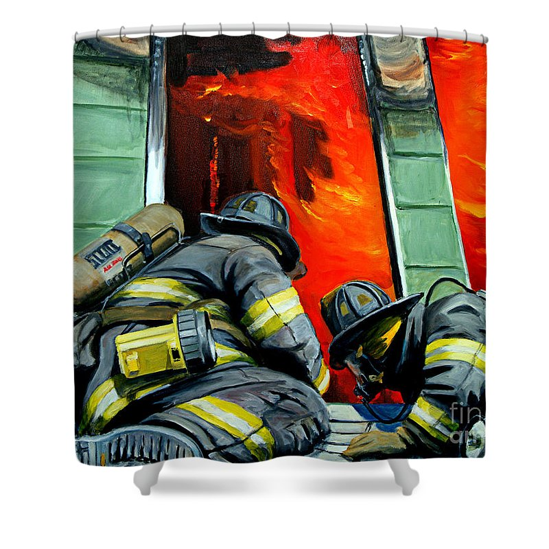 Firefighting Shower Curtain featuring the painting Outside Roof by Paul Walsh