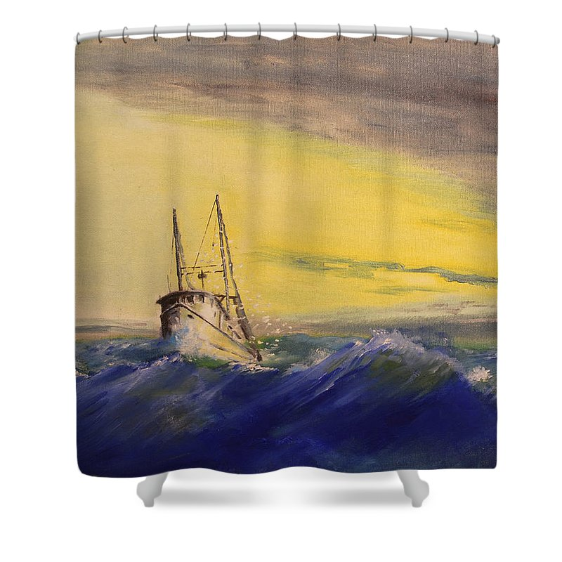 Boat Shower Curtain featuring the painting Outside The Jetty by Christopher Jenkins