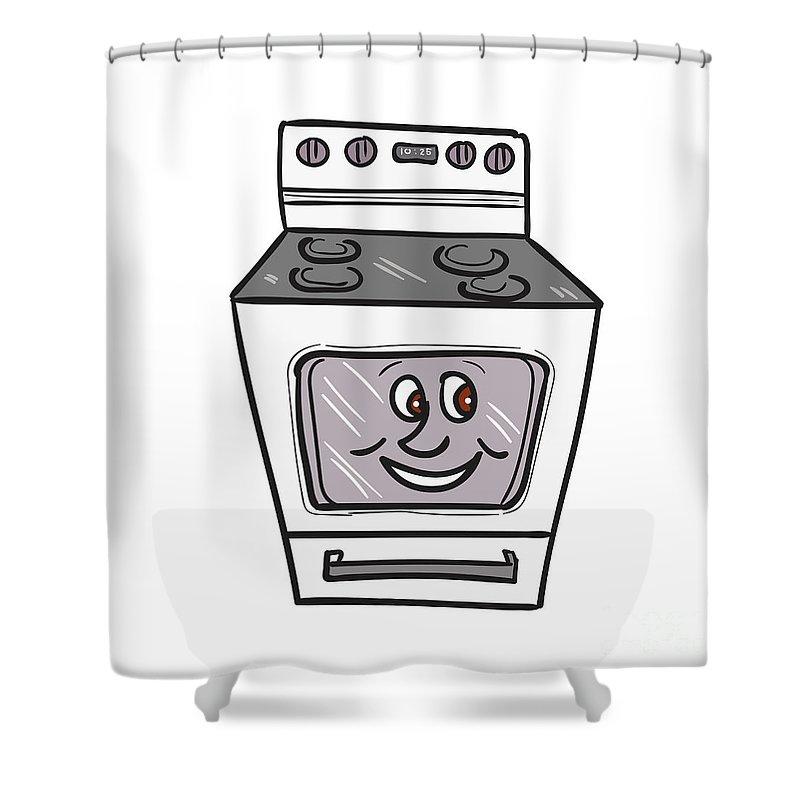 Oven Shower Curtain Featuring The Digital Art Smiley Face Cartoon By Aloysius Patrimonio