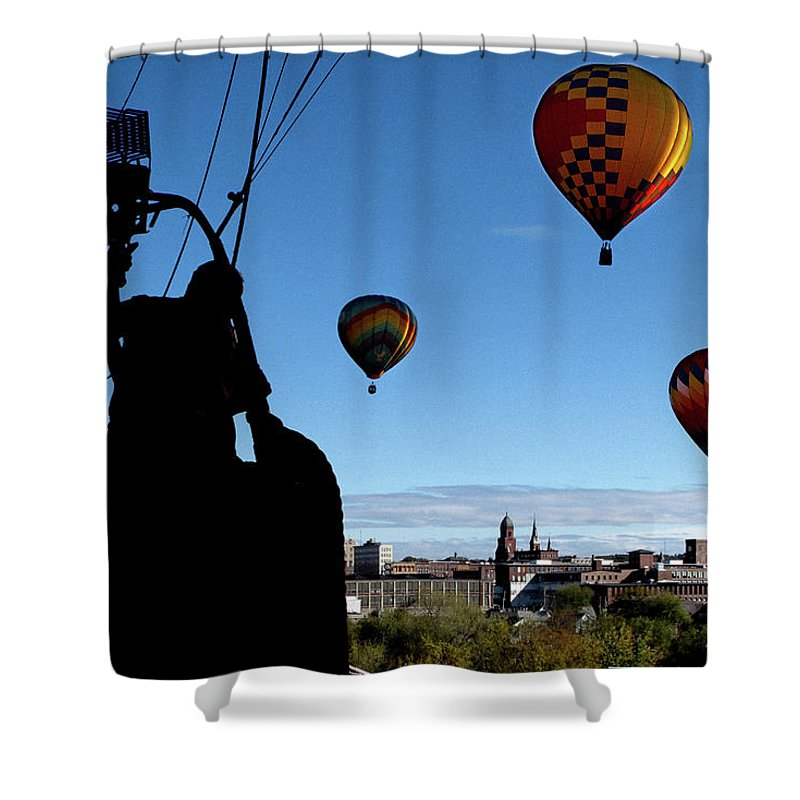 Bates Mill Shower Curtain featuring the photograph Over Auburn And Lewiston Hot Air Balloons by Bob Orsillo