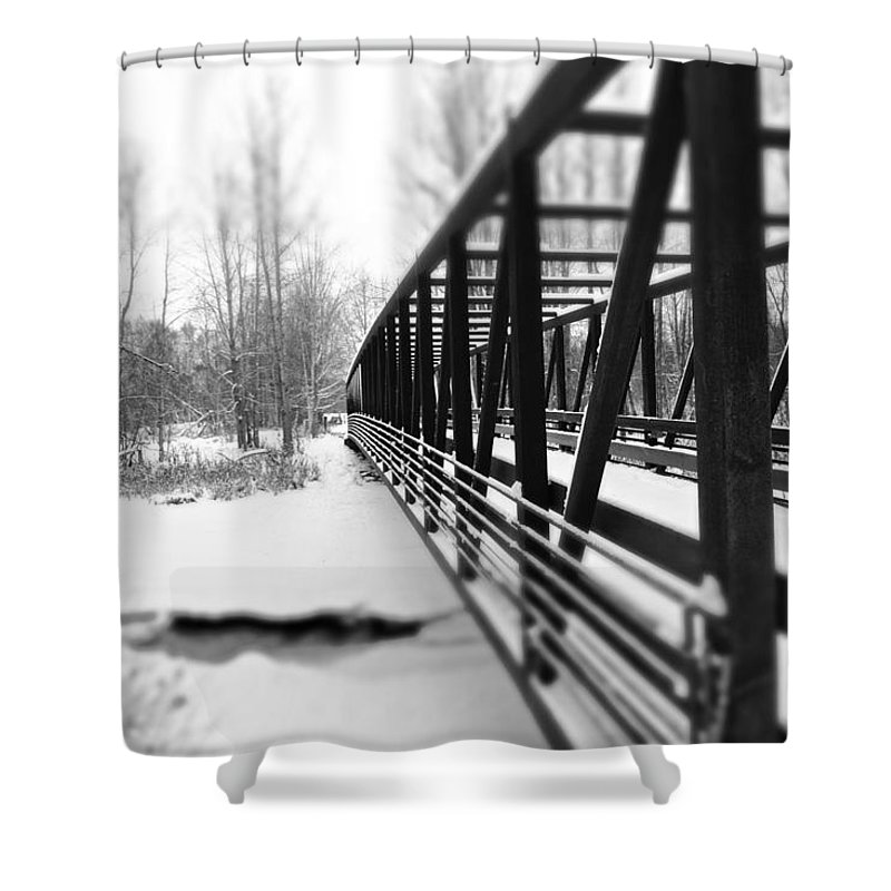 Black And White Shower Curtain featuring the photograph Over The Bridge by Ash