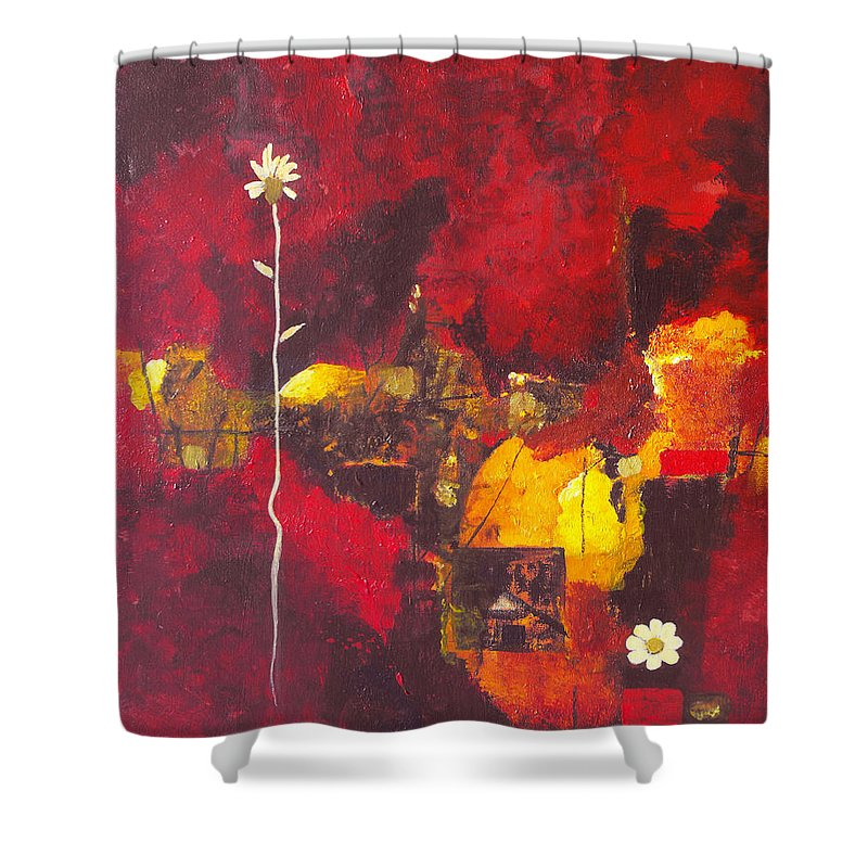 Abstract Shower Curtain featuring the painting Over The Broken Fence by Ruth Palmer