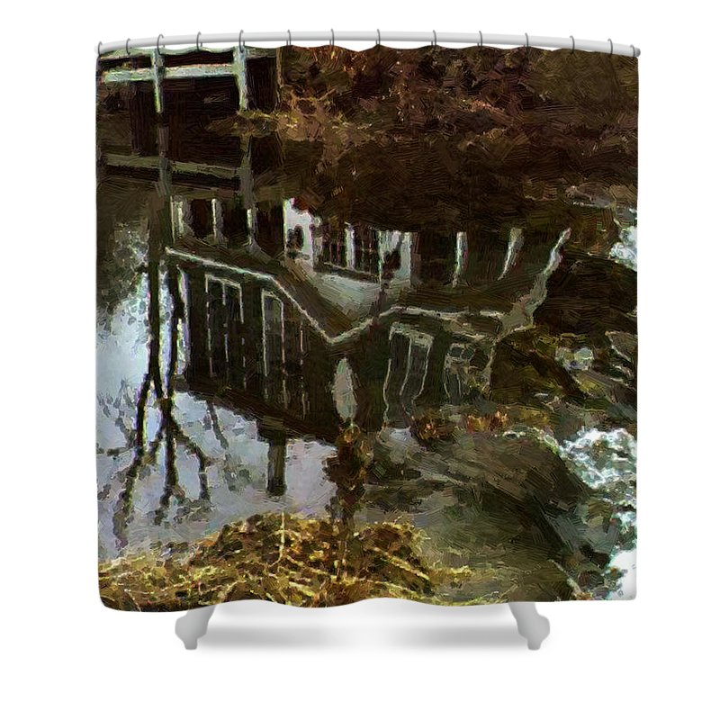 Landscape Shower Curtain featuring the painting Over The Falls by RC DeWinter