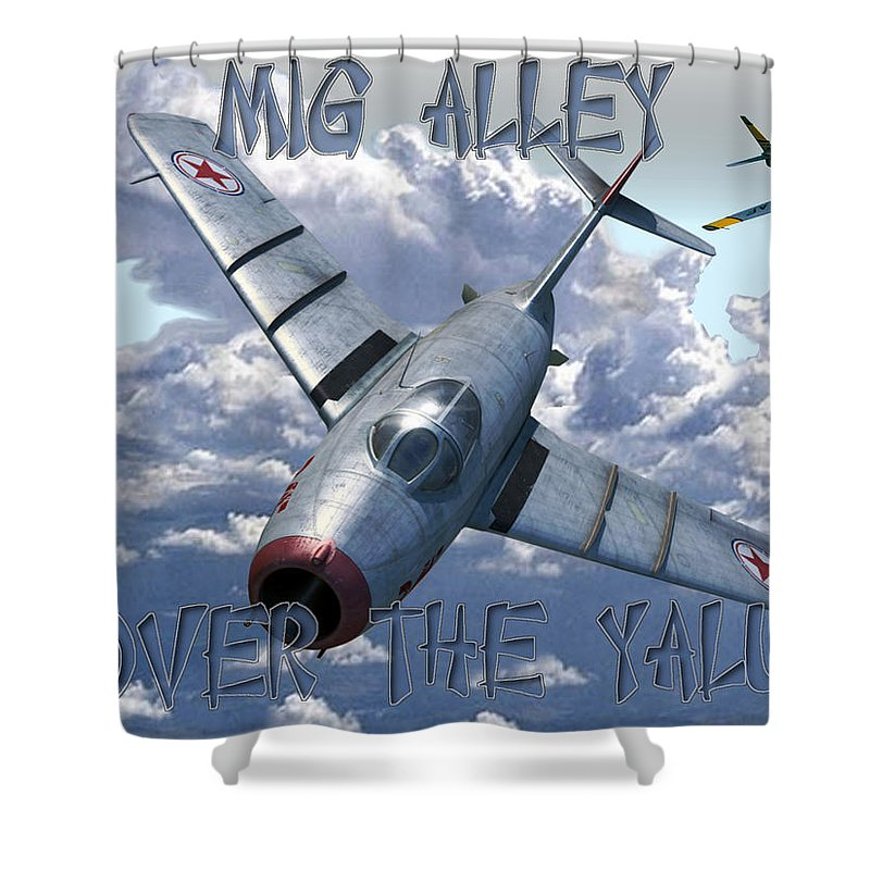 Mig15 Shower Curtain featuring the digital art Over The Yalu by Mil Merchant