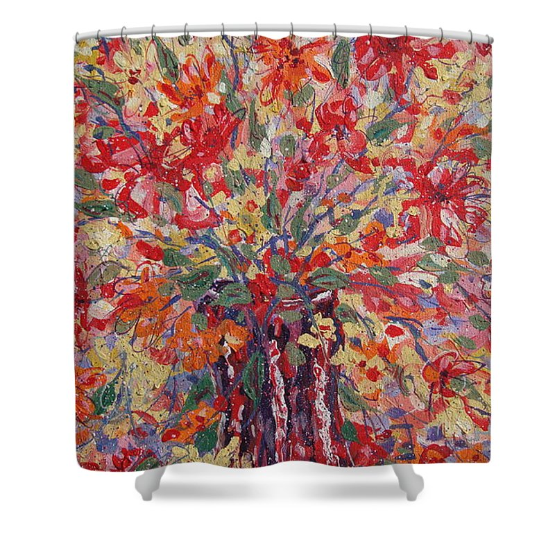 Painting Shower Curtain featuring the painting Overflowing Flowers. by Leonard Holland