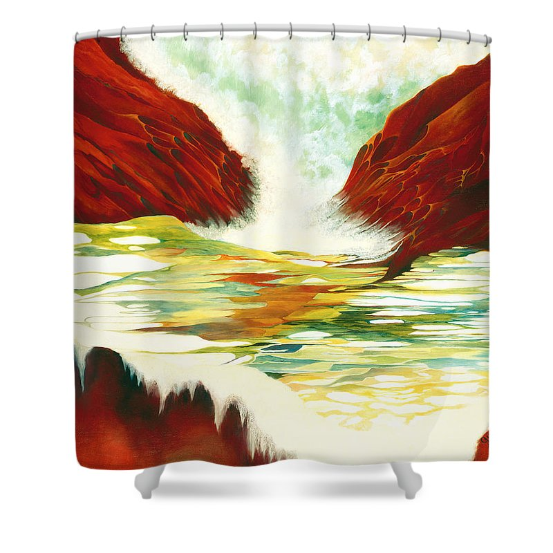 Oil Shower Curtain featuring the painting Overflowing by Peggy Guichu